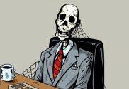 Come cercare trovare acquisire nuovi clienti scheletro imprenditore sulla sedia